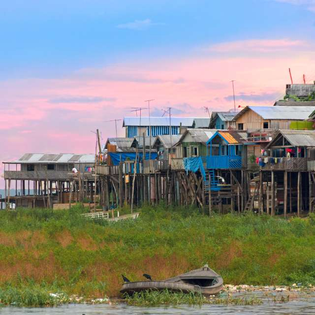 Dusk over a favelas of Manaus