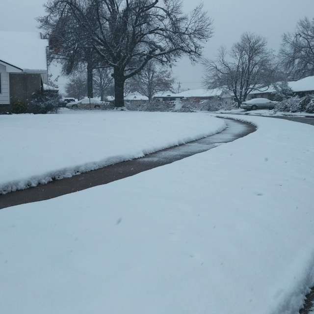 Snowy Oklahoma neighborhood