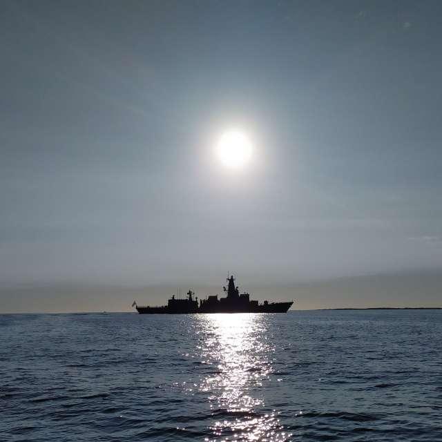Fregat op het Marsdiep