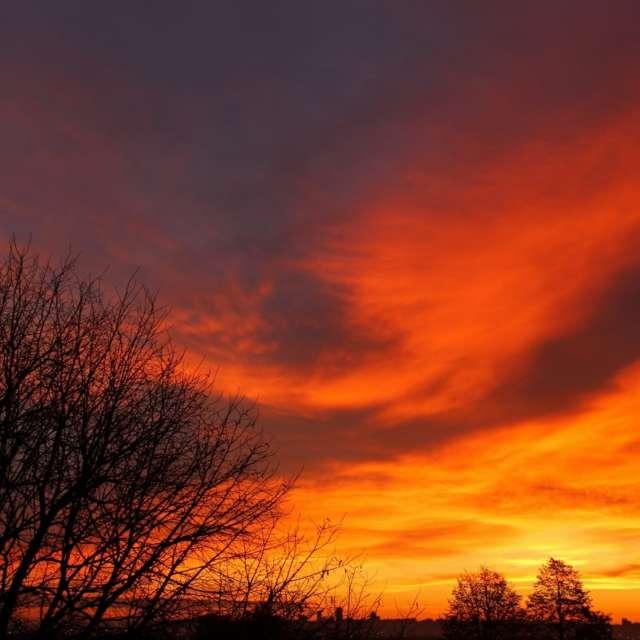 Fire sky at sunrise