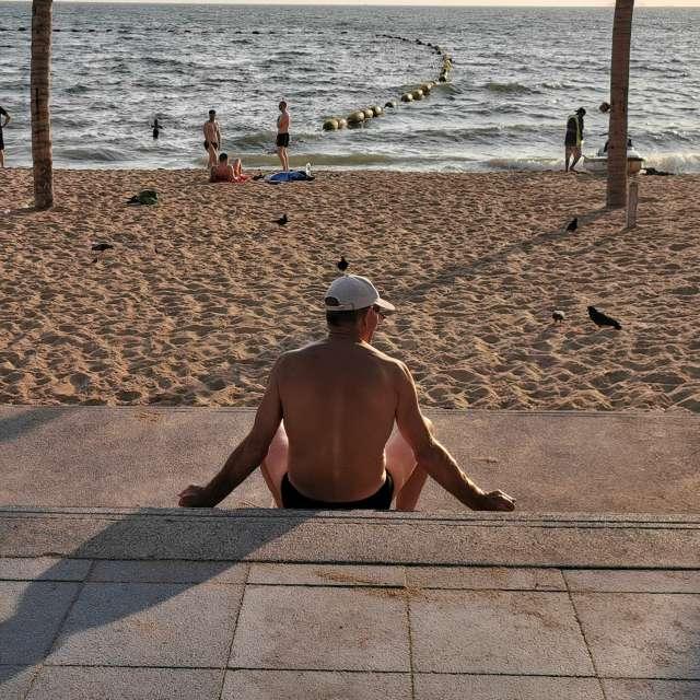 Man watching waves