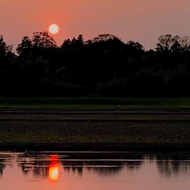 雨の日の前の夕焼け