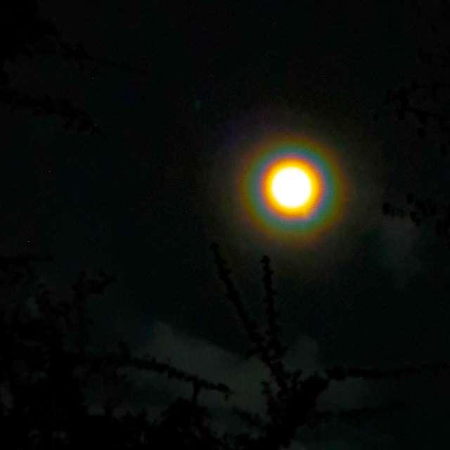 Rainbow halo moon befor storm