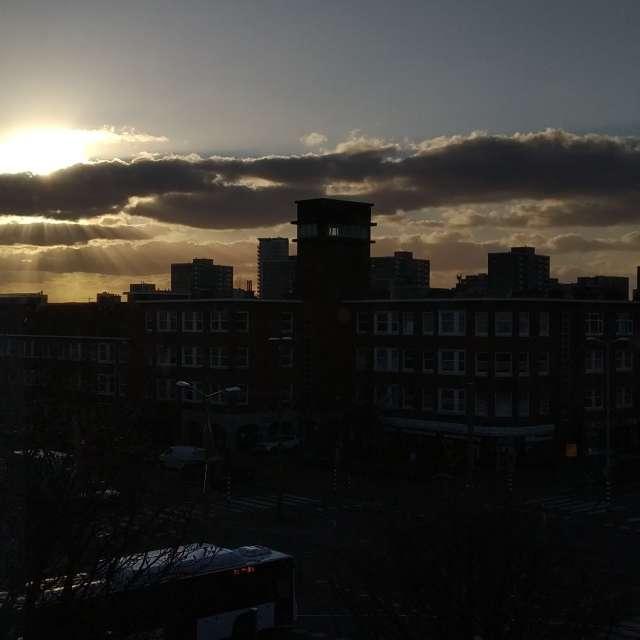Facing north at sunset