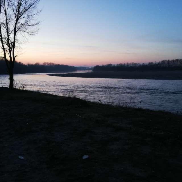 Sunset on po river