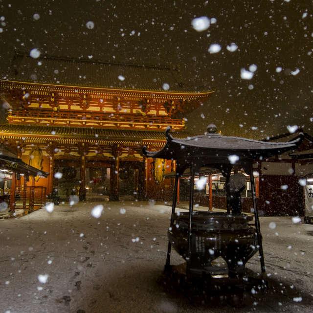 雪の浅草寺
