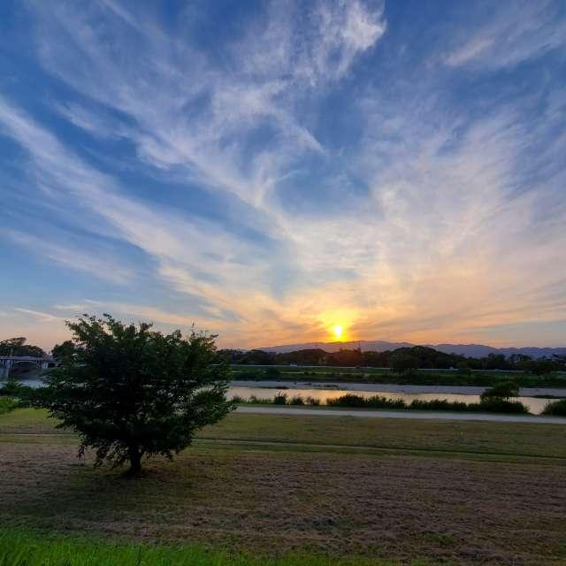 武庫川沿いの夕焼け