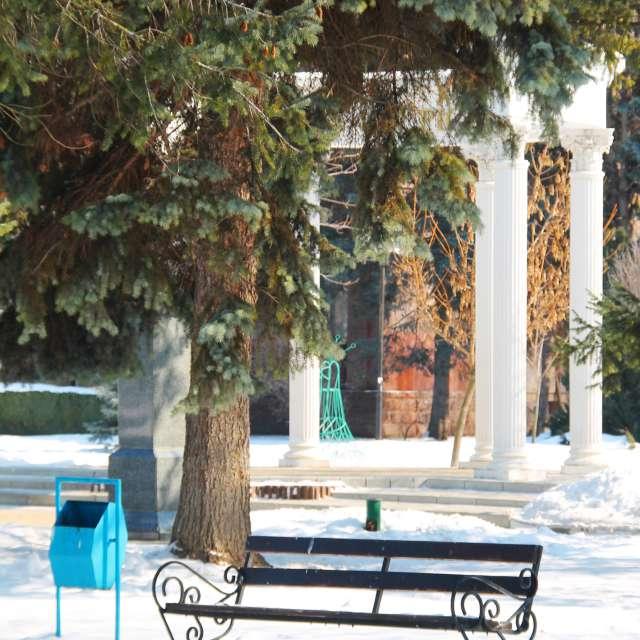 скамейка под елью и колоны