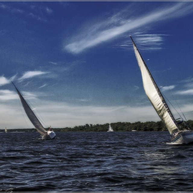 Yacht regatta on the Dnieper.