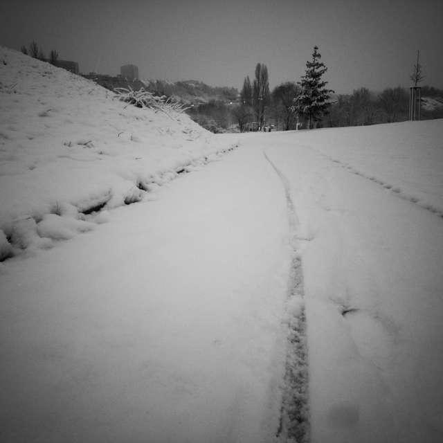 Biker went thorough snow
