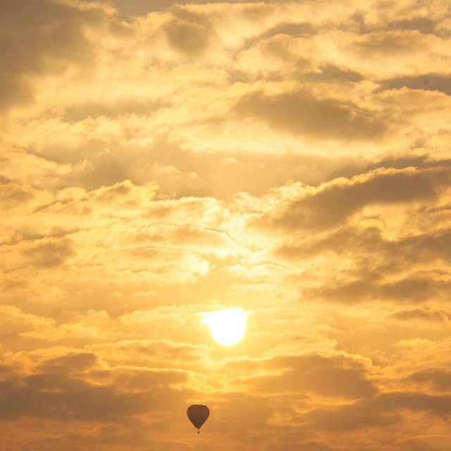 Balloon at sunrise.