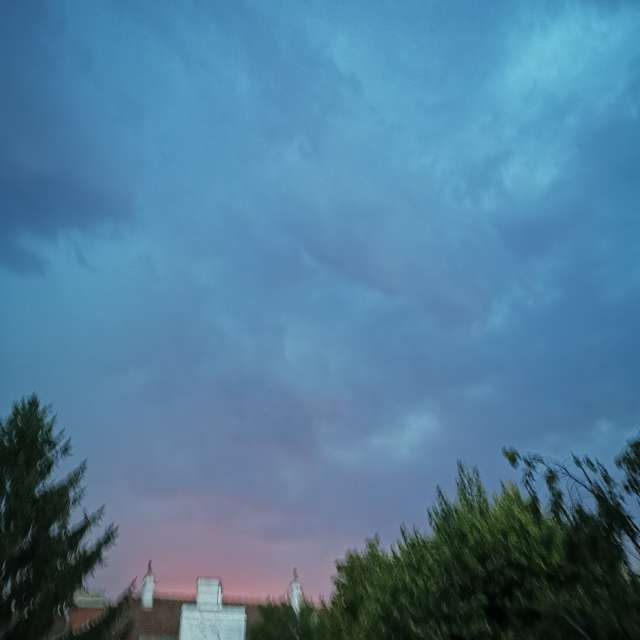 Beginning thunderstorm