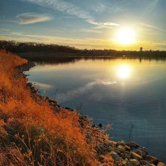 Along the lake shore at sunset
