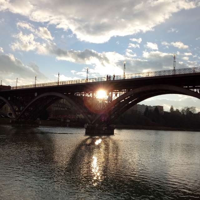 Sun shine through the bridge