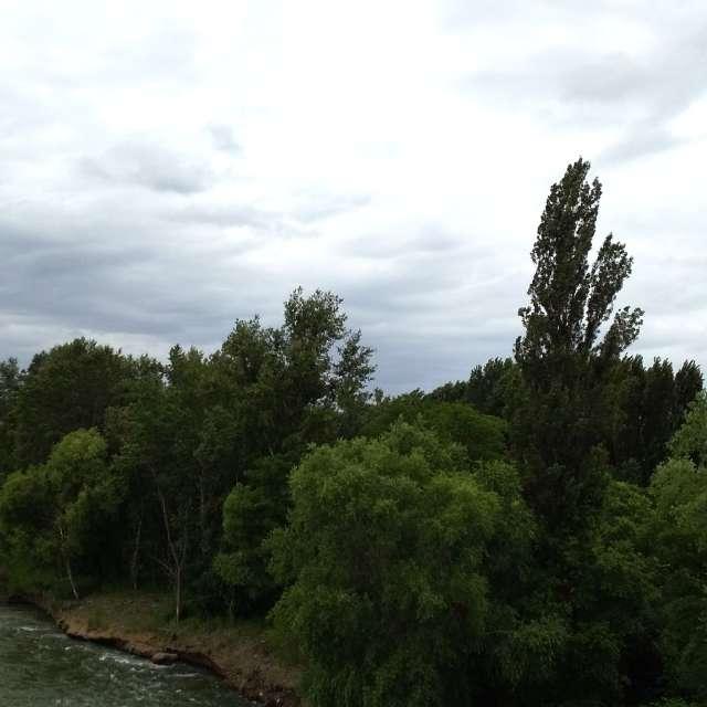 曇り空の川