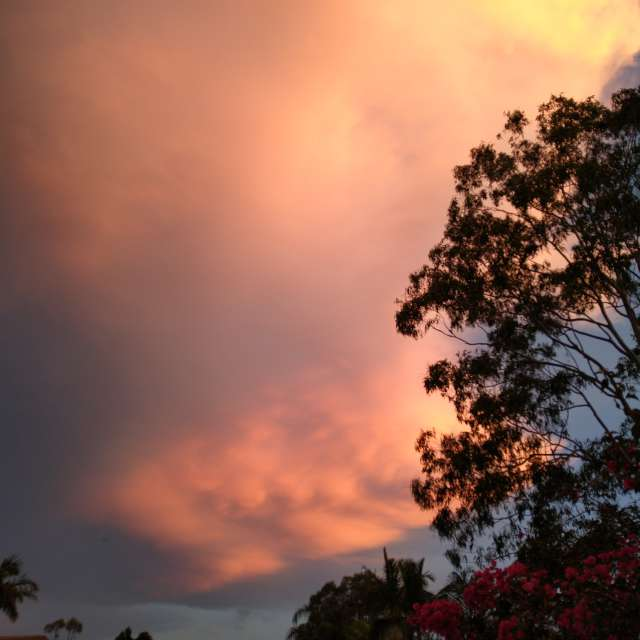 Pink sunset storm approaching