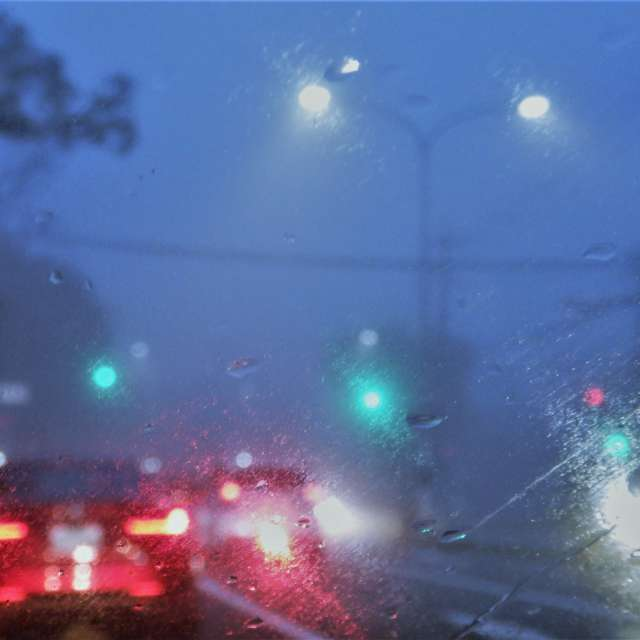 Rainy day, traffic landscape