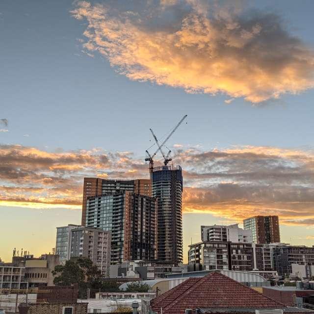City life at dusk