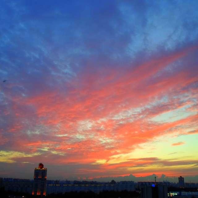 Розово-синий закат