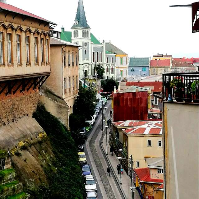 View of street at Valparaiso