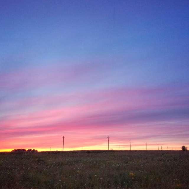 Закат в поле