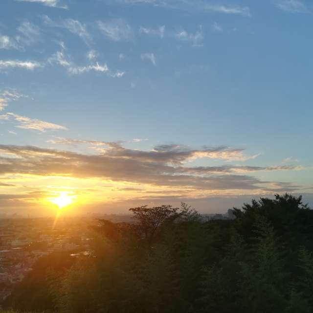都心に昇る朝日