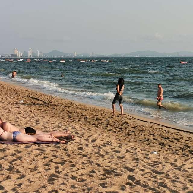 Sunbathing on Jomtien beach