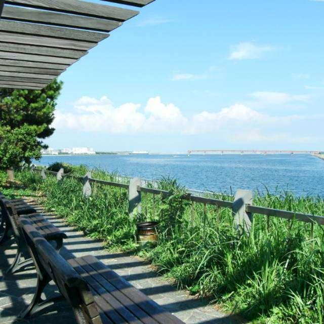 飛び立つ飛行機と海の風景が楽しめる京浜島つばさ公園