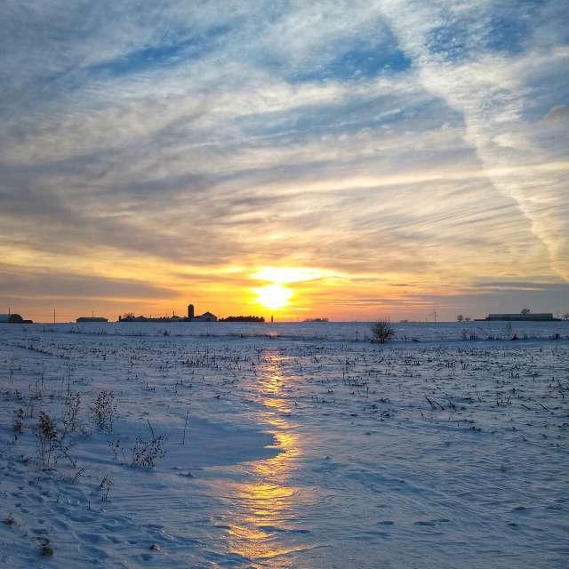 Sunset Reflection Frozen snow