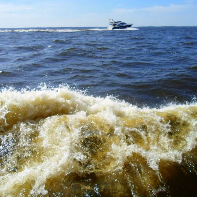 Волна и яхта