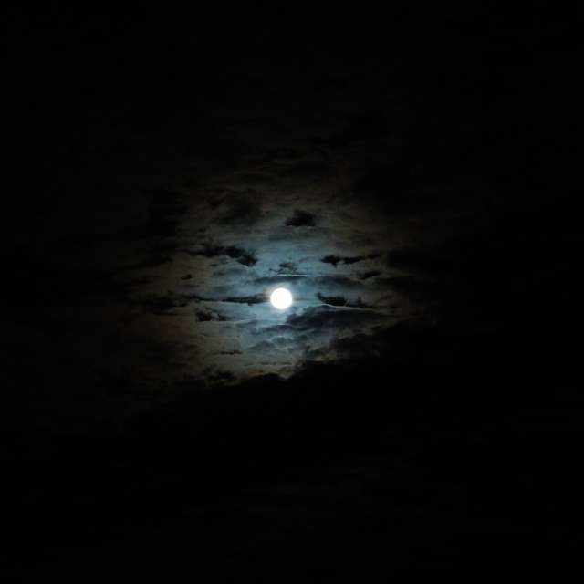 Moon in the clouds at night