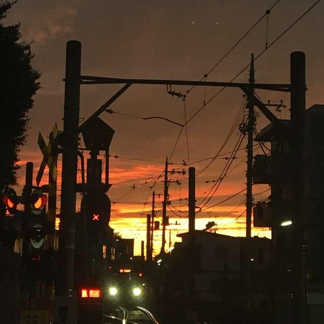 夕暮れ時の世田谷線