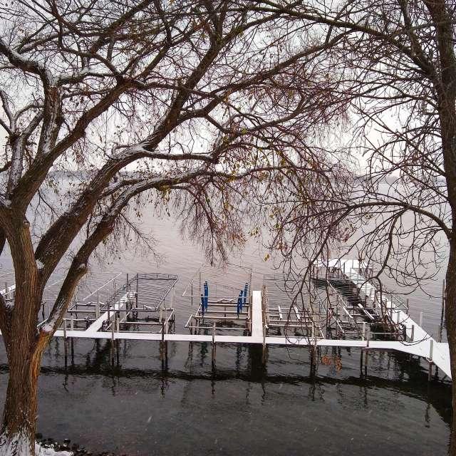 snowy snow on dock