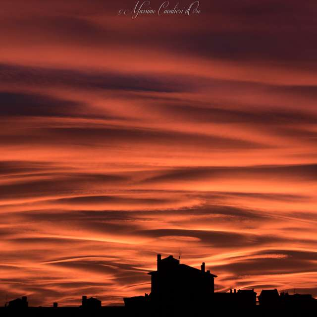 October cloudy sunset