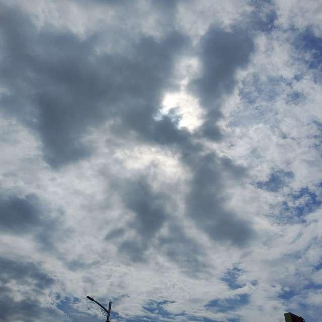 陽光照射穿梭烏雲層間