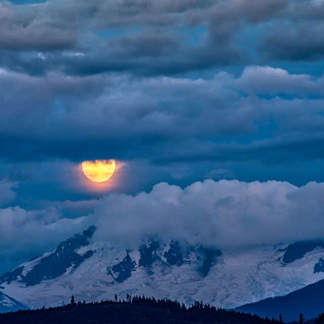 Moonrise in the Clouds, BC, CA