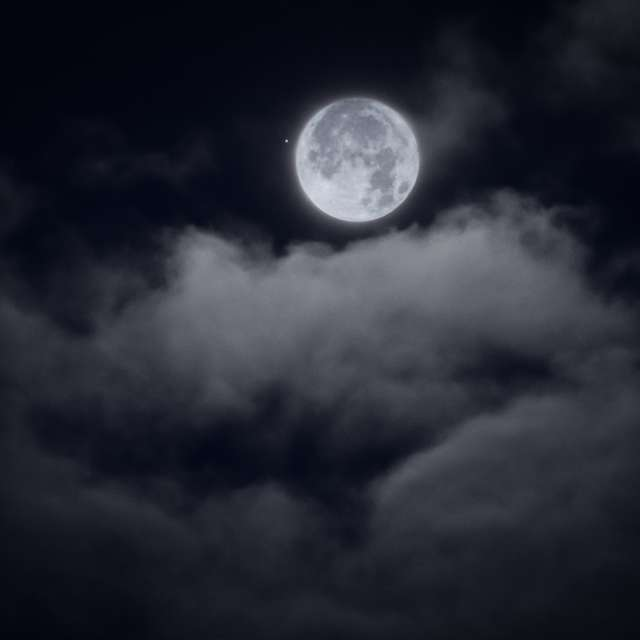 Moon and Clouds, Nighttime, BC