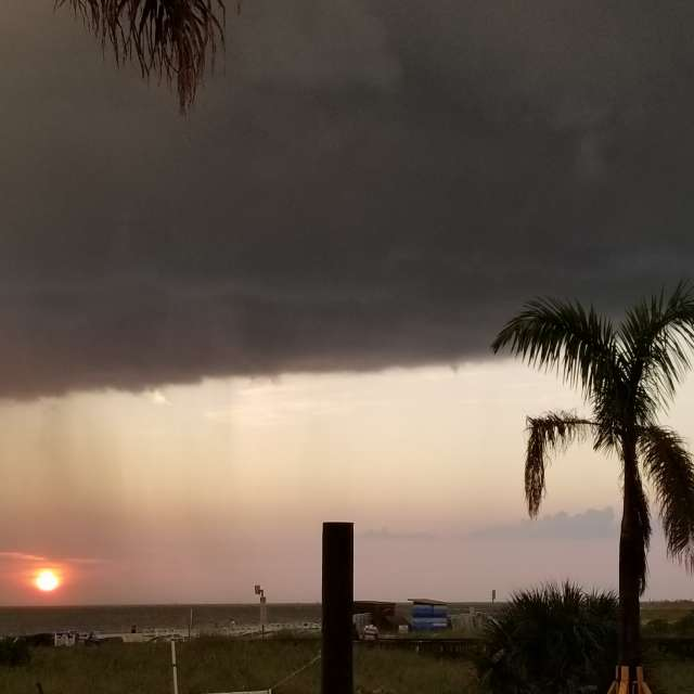 rainy sunset thunderstorm