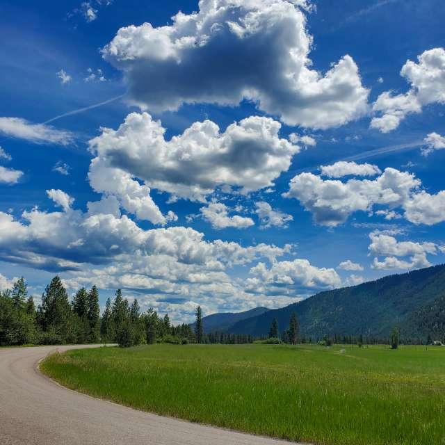 Afternoon 75°F blue skies