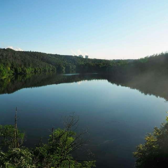 Řeka Jihlava; v dálce Dukovany