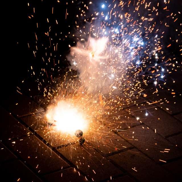 Exploding silvester fireworks