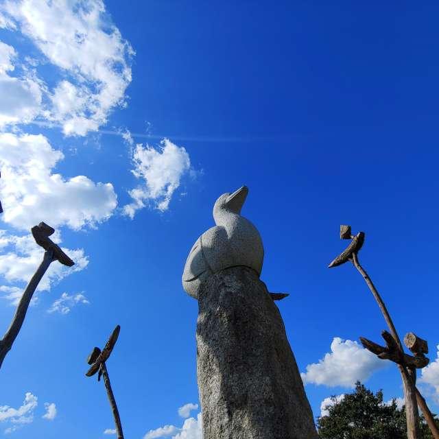 맑고 푸른 가을하늘과 솟대
