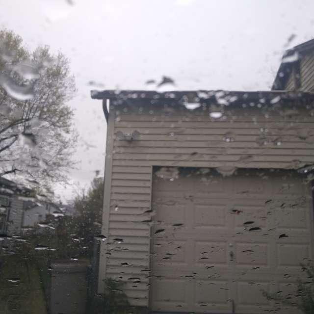 Wet windshield.