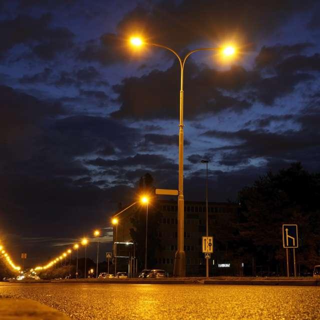 Night sky of empty streets