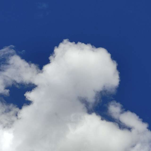 blue and cloudy