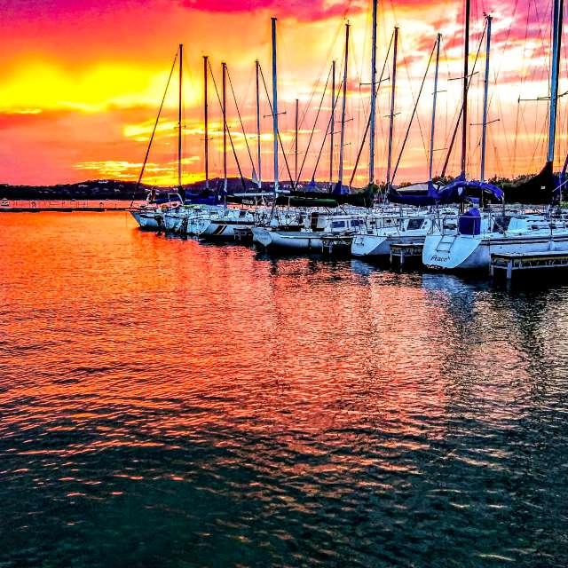 Sunset at marina lake Travis