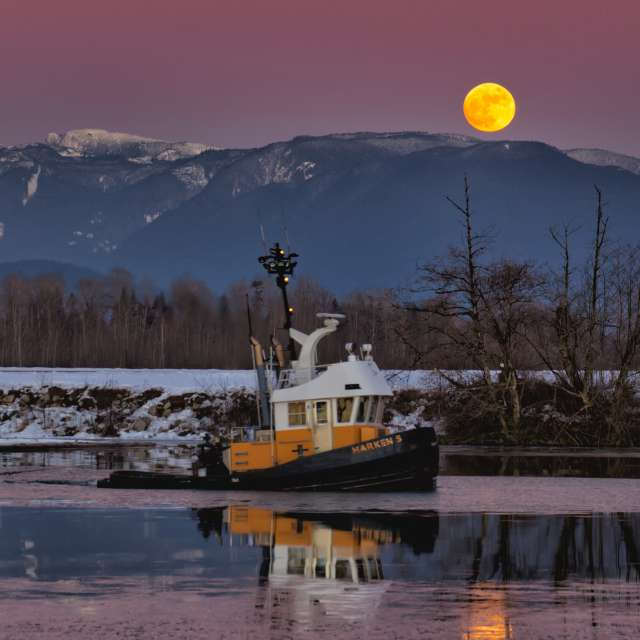 Tugboat and Moonrise, BC, CA