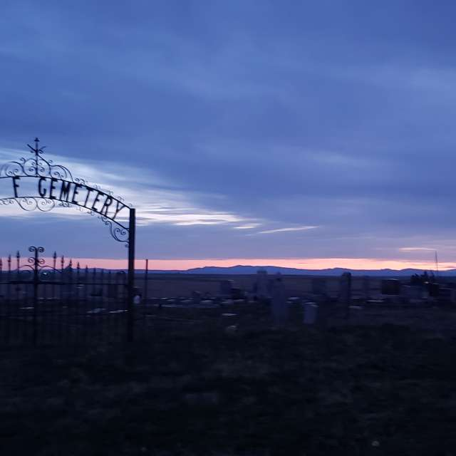 cemetary at dusk
