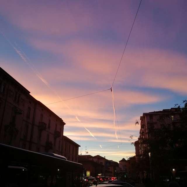 Pink sky in Bergamo - Italy