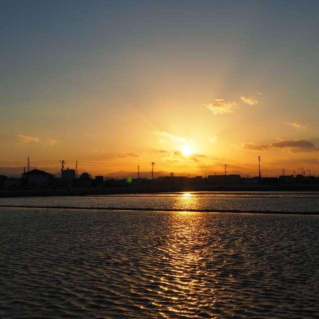 ★夕日★徳島市川内町にて